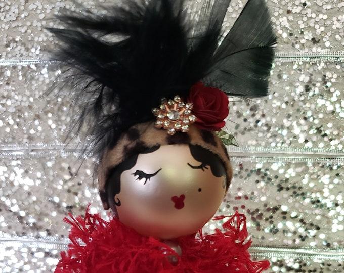 Gigi Handmade Red Flapper Christmas Ornament, Handcrafted OOAK Ornament,Red Christmas Ornament