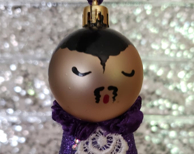 Small Prince Purple Rain Christmas Ornament, handmade ornament
