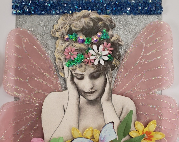 Handmade Flower Fairy Card, Luxury Card, Victorian Card, Card for her