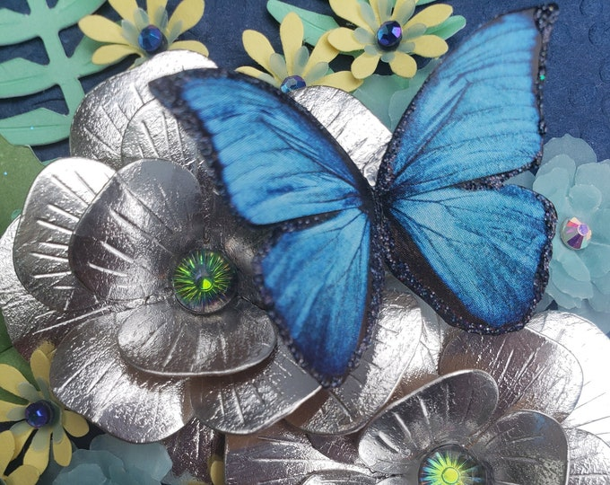 Handmade Silver Flower Card,Butterfly Card,Handmade Butterfly,Paper Flower Card