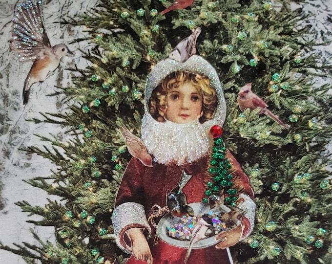 Victorian Girl Card, Handmade Holiday Card,Christmas Forest