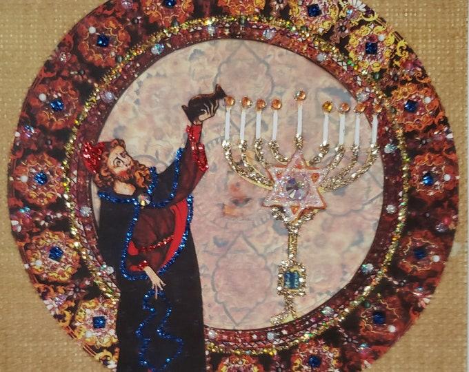 Handmade Gold Hanukkah Card,Menorah Card