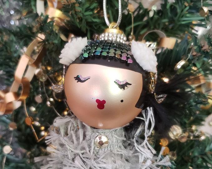 Cristobel Handmade Silver Flapper Christmas Ornament, Handcrafted OOAK Ornament, Silver Christmas Ornament