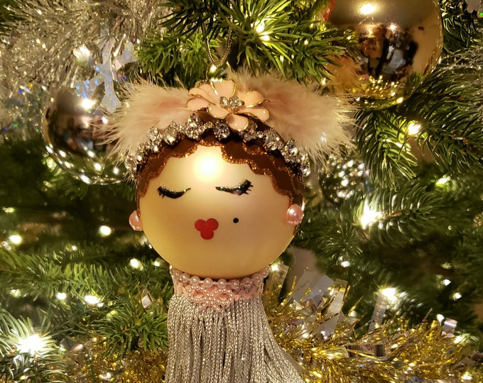 JOJO Brunette Doll Ornament,Handmade ornament,Ornament for her