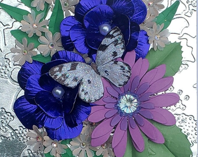 Handmade Blue Flowers Butterfly Card,Elegant Card,Special Birthday card