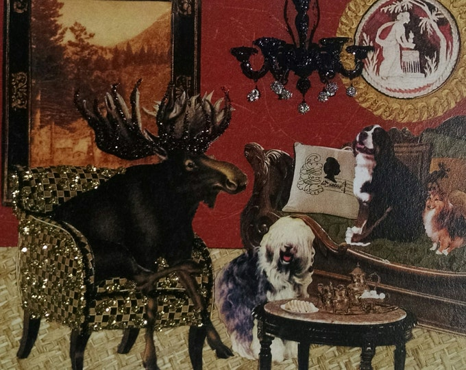 Moose Card-  Dogs, Tea,Sheepdog, Tea Set, Chandelier, Tea Party, Antique Furniture