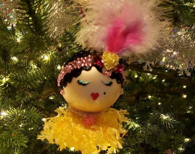 RUBY Holiday Flapper Ornament,Handmade Ornament,Ornament for Her