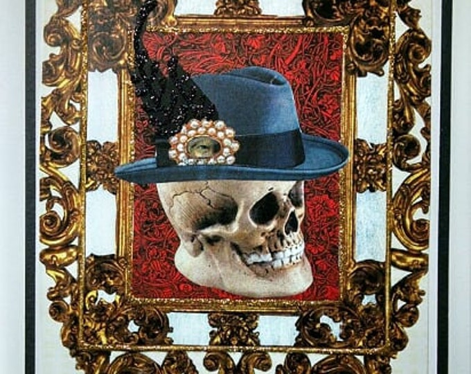 Skull Greeting Card- Lover's Eye, Birthday, Vintage, Blank Inside, Skeleton, Sugar Skull, Fedora, Goth, Gothic, EMO, Steampunk