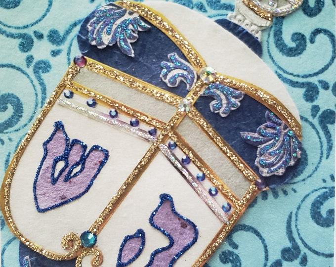Handmade Blue Dreidel Card,Hanukkah Card for Framing