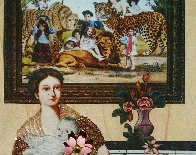 Jungle Mother's Day Card- Baby, Mom, Wild Animals, Lion, Vintage, Mama,Mother's Day,Victorian, Portrait, Rhino, Rhinoceros