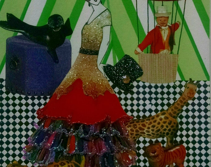 Circus Card- Ringmaster, Hot Air Balloon, Seal, Leopard, Giraffe, Ringmaster, Glamour,