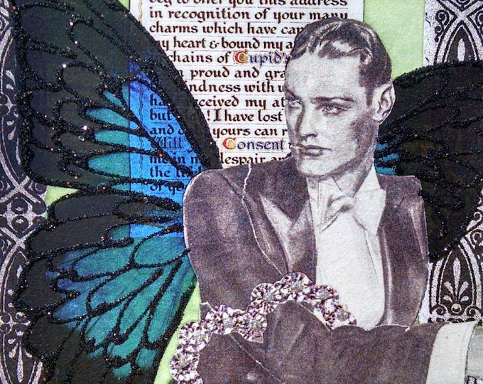 Cupid Greeting Card- Valentine, Butterfly, Blue, Love, Lover, Love You,LGBT
