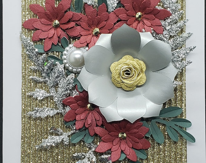 Paper Holiday Flower Card-Bling Card,Christmas card,handcrafted card