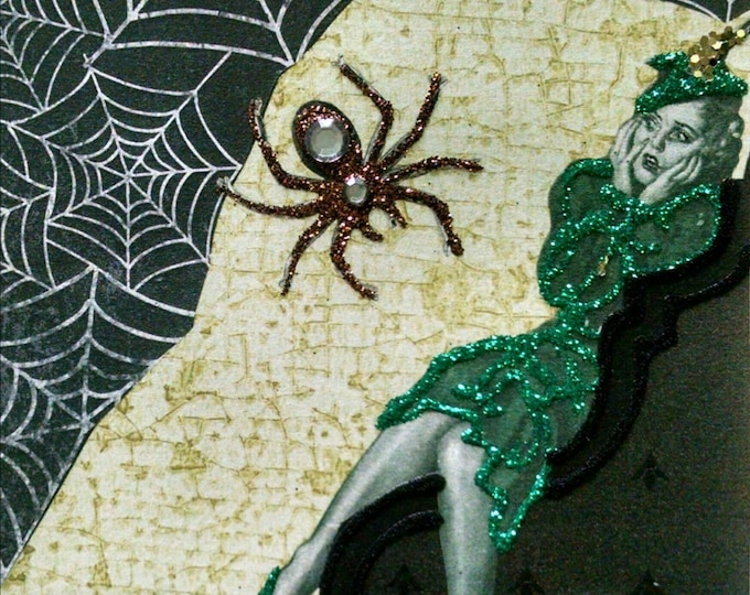 Blank Spider Greeting Card- Spiders, Vintage,  Spider Web, Black Velvet, Web, Green Dress, Glamour, Black Widow