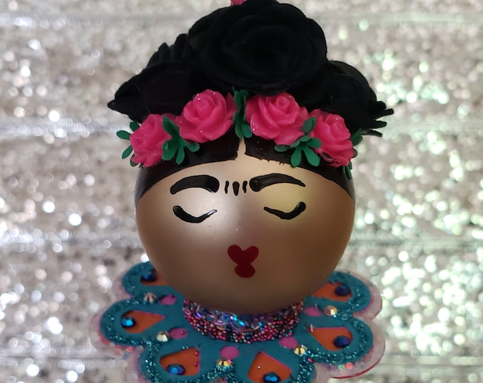 Handmade Small Frida Kahlo Christmas Ornament