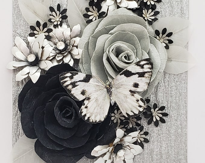 Black and White Roses Card, Bling Card, Paper Flowers