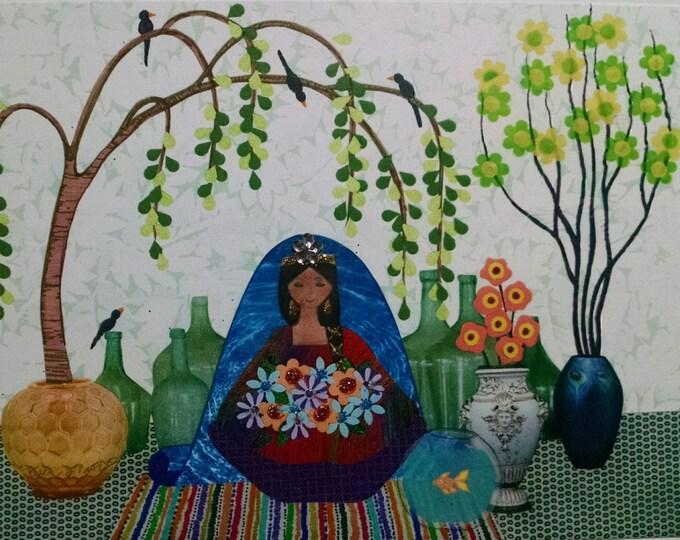 Namaste Blank Card-Peace,Meditation,birds,flowers,willow,trees,goldfish,fishbowl,Glitter