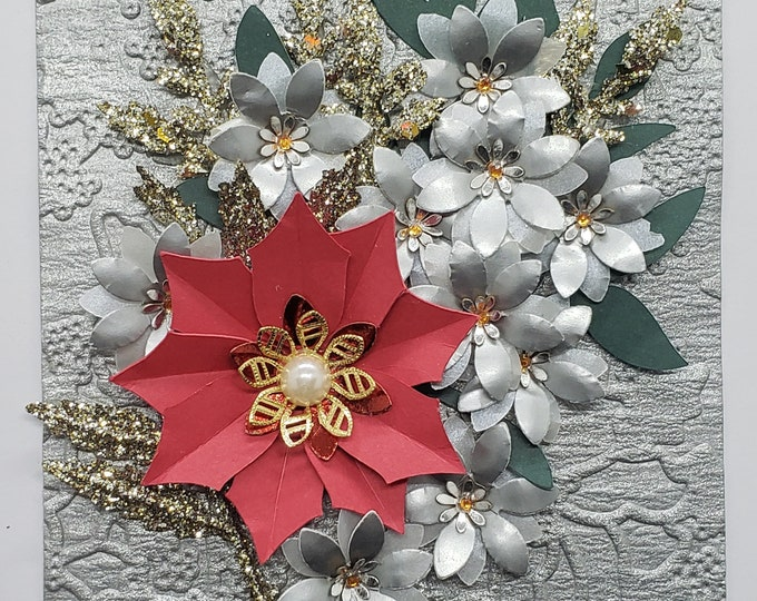Handmade Poinsettia Card-Bling Card,Christmas card,handcrafted card