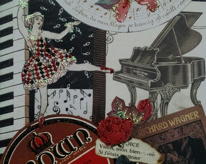 Music Greeting Card- Dancer, Grand Piano, Roses, Crown,Dancing, Baby Grand, Wagner