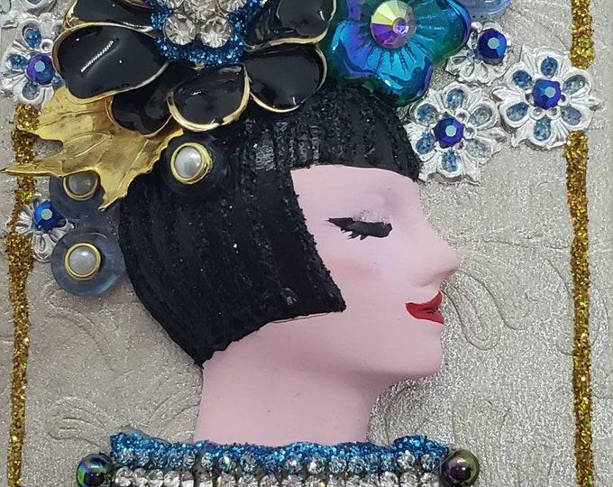 Black Blue Embellished Doll Face Art, Small Art, Embellished Art