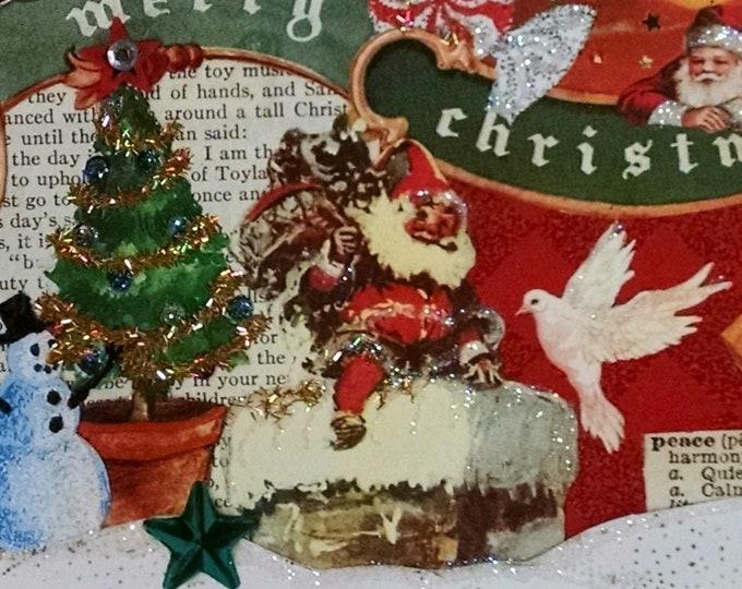 Santa Claus & Dove Christmas Card-Dove,Peace, Snowman,Christmas Tree,Holiday,Santa,Sleigh,Santa Claus,Chimney,Snow,Merry Christmas