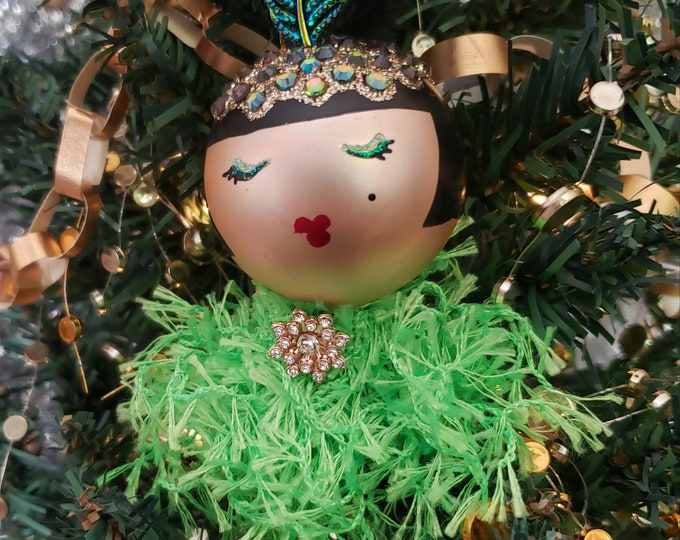 Fifi Handmade Green Flapper Christmas Ornament, Handcrafted OOAK Ornament,Green Christmas Ornament