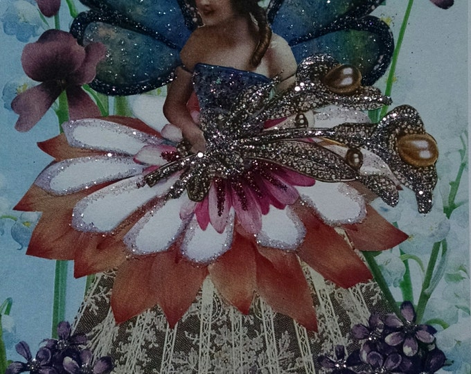 Brunette Fairy Doll  Greeting Card- Fairies, Flowers, Pink and Purple