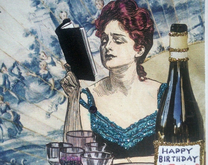 Wine Birthday Card-Book club card,blank card,gibson girl card,wine card,card for her, birthday card for her