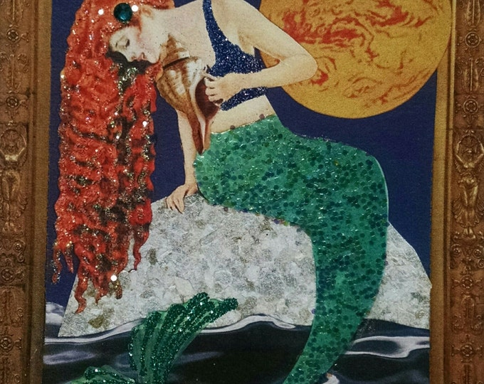 Redhead Mermaid Greeting Card for Framing, Handmade Glitter Embellished Mermaid Note Card, Recycled Paper Wall Art, Unique Gifts for Her