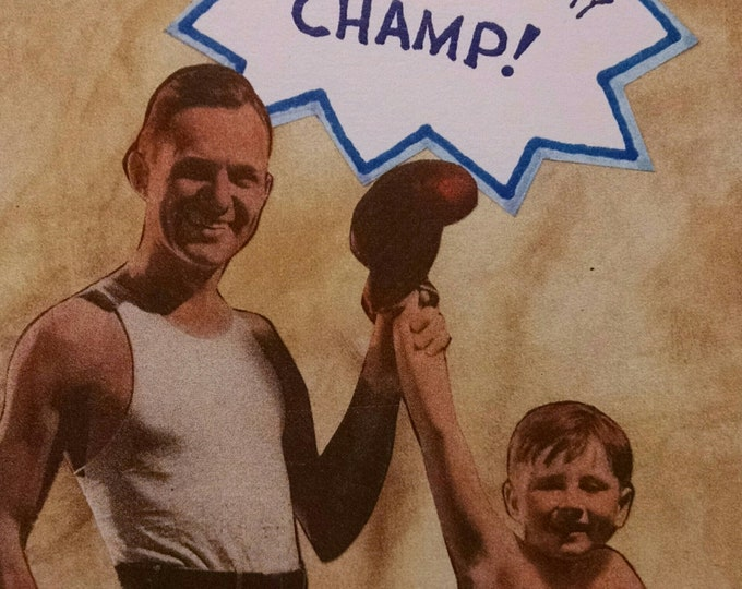 Boxing Father's Day Card-  Boxer, Boxing, Dad, Champ, World's Greatest, Boxers, Gloves, Boxing Glove, Father, Champion