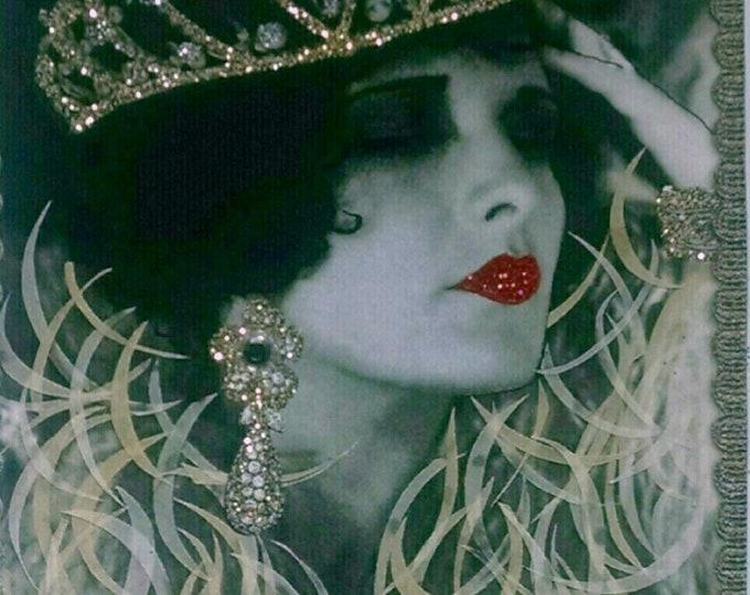 Glamour Girl Card, Embellished Birthday, Tiara Card, Silent Princess