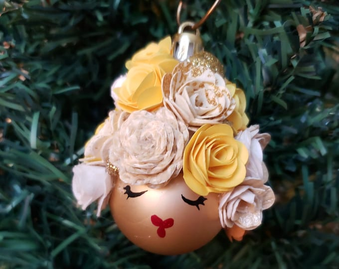 YELLOW Sweetie Face Ornament-Fancy,Sparkle,Girly girl,Glamour Girl,Glamorous,Stylist,Roses,Paper Flowers,Ornament for her, girl, fancy girl
