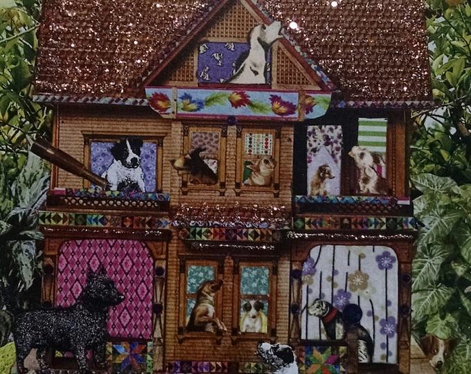 Dog Card- Dog House, Dogs, Dog, New Home, Doghouse, Terrier, Hound, Bulldog, Blank Inside, Handmade, Glitter, Birthday