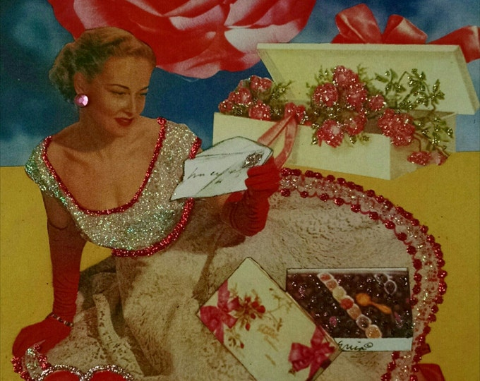 MId Century Valentine Card-vintage,write,love letter,fifties,chocolates,roses,blonde,box of chocolate,love,Valentine,Valentine's Day,