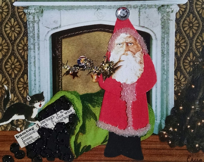 Scrooge Christmas Card,Anti Christmas Card,Bad Santa Card,Coal Christmas Card,Blank Holiday Card,Lump of Coal,Naughty List Card,Scrooged