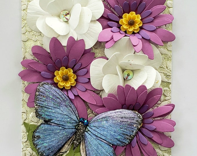 Handmade Purple Daisies Blue Butterfly Card-Elegant Luxury Card,Birthday card,wedding card,handcrafted card,white Butterfly,anniversary card