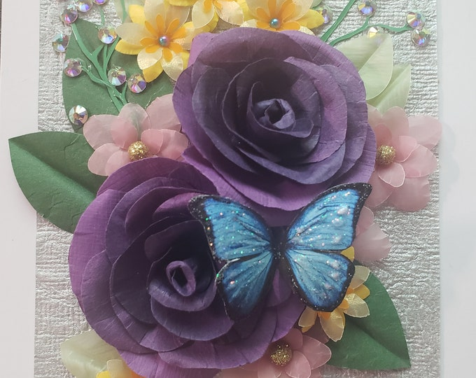 Handmade Purple Paper Roses Card, Butterfly Card, Paper Spring Flowers