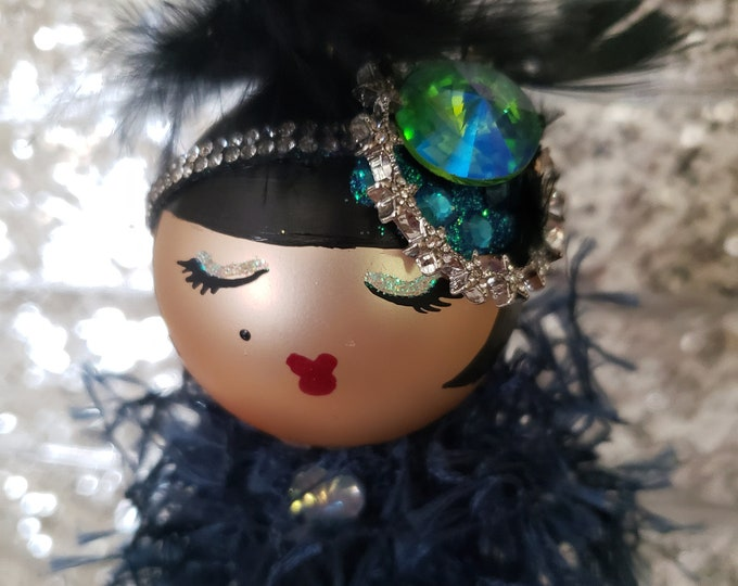 Zuzu Handmade Flapper Christmas Ornament, Handcrafted OOAK Ornament,Blue Christmas Ornament