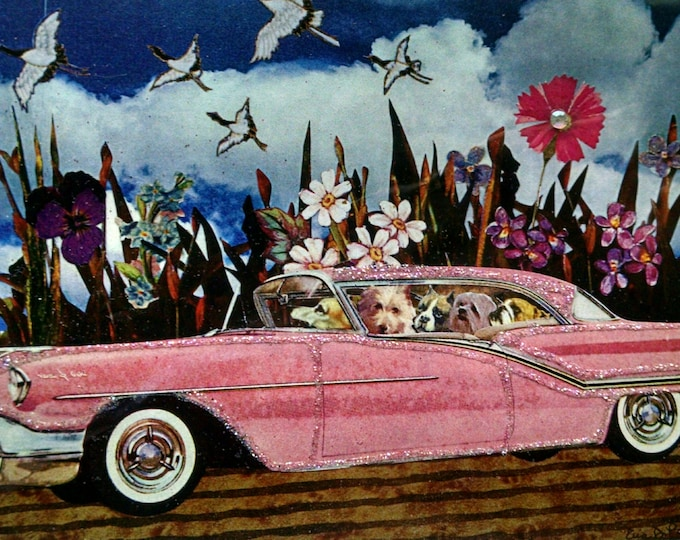 Dogs in Car Card-Pink,Dogs,card for dog lover,Pink Car,Dog,Road Trip,Vacation,card for traveler,card for car lover
