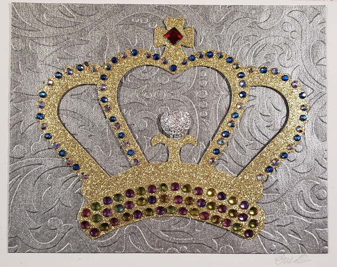Handmade Bejeweled Gold Crown Blank Card-Luxury Card,Fancy Birthday card,Royal card,Crown,Luxe Card,Embellished Card, Speciality