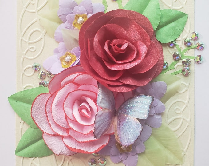 Handmade Pink Roses Card, Butterfly Card, Paper Spring Flowers