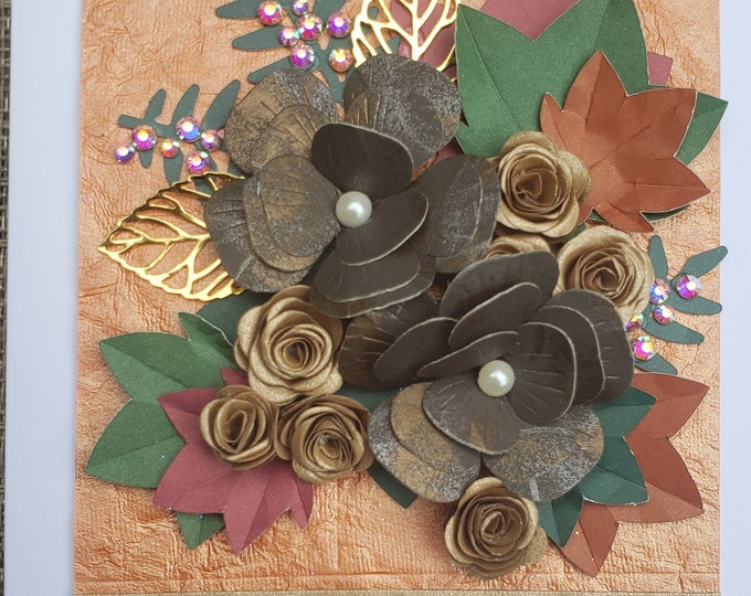 Handmade Fall Flowers Leaves Card,Autumn Card