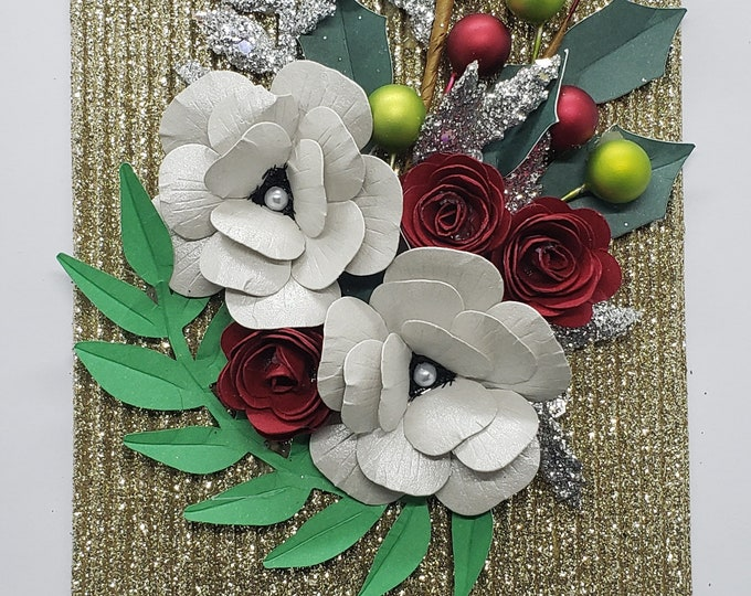Handmade Holiday Flowers Blank Card-Bling Card,Christmas card,handcrafted card