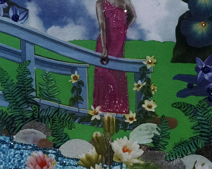 Fish Pond Goddess Greeting Card- Embellished, Nymph, Bridge, Fairy, Fairies, Lily Pads, Goldfish, Koi, Glamour, Gold Fish, Goddess