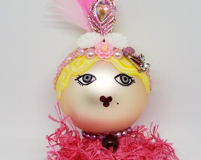 BETTE Handmade Pink Flapper Christmas Ornament, Handcrafted OOAK Ornament,Pink Christmas Ornament