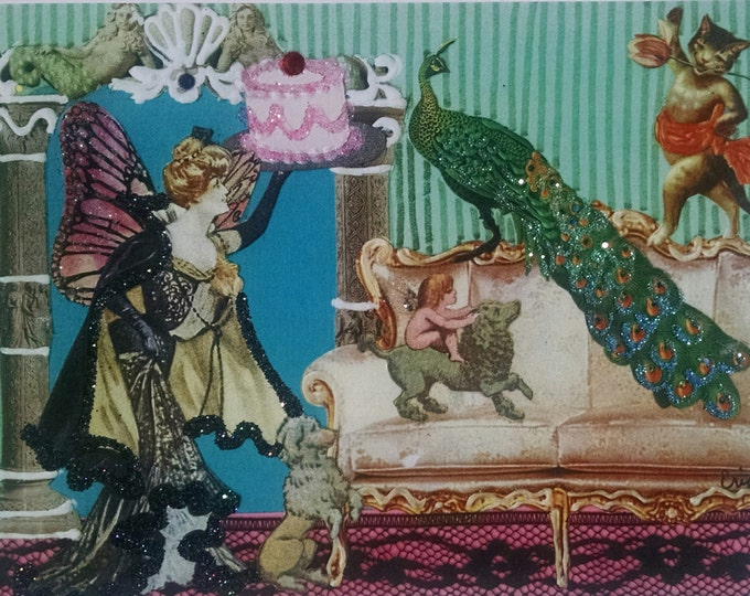 Peacock Birthday Card- Birthday Cake, Poodle, Fairy, Fairy Godmother