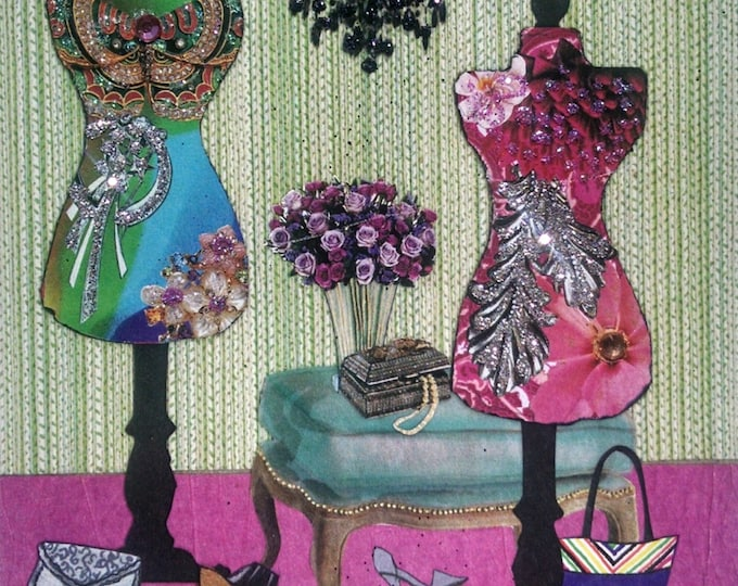 Fashion Greeting Card- Mannequin, purple roses, jewelry, shoes, handbags, glitter, zebra, pink, chandelier, roses, Fashionista
