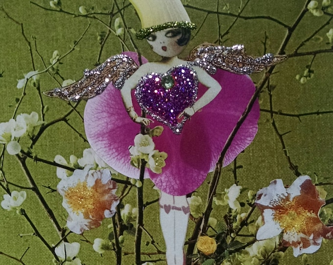 Orchid Fairy Greeting Card- Fairies, Orchids, Heart, Pixie, Baby's Breath