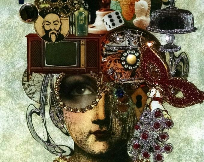 Imagine Greeting Card-Mind's Eye, Imagination, Mask, Television, Cake, Vintage, Car, Castle, Peacock, Confucius