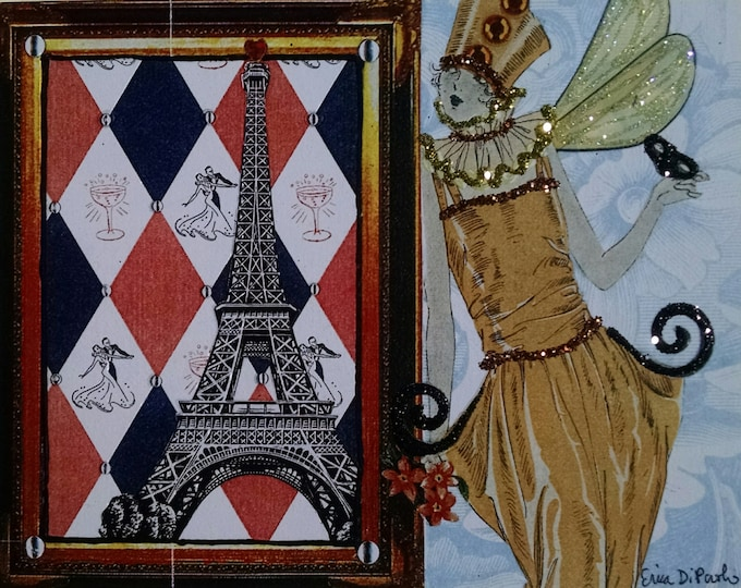 Eiffel Tower Card- Fairy, France, Orange, glitter